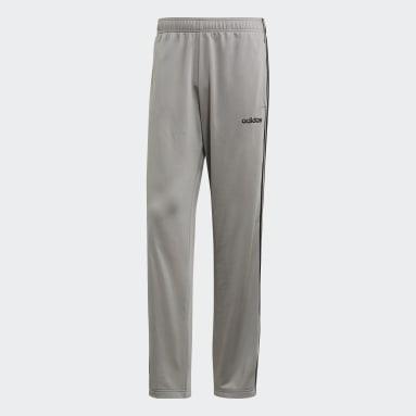 Men Gym & Training Grey 3-Stripes Pants