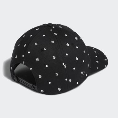 Men's Golf Black Allover Print Shield Cap