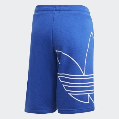 เด็ก Originals สีน้ำเงิน กางเกงขาสั้นโลโก้ Trefoil ขนาดใหญ่