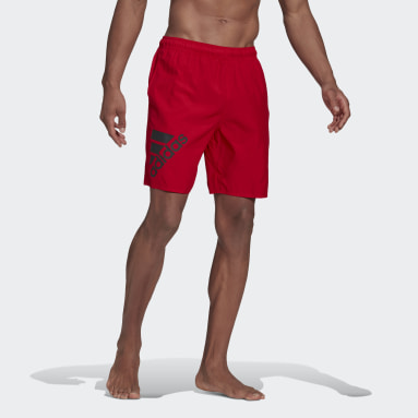 Men Swimming Red Classic-Length Logo Swim Shorts