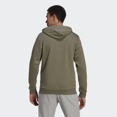 Men Sportswear Grey Essentials Fleece 3-Stripes Full-Zip Hoodie