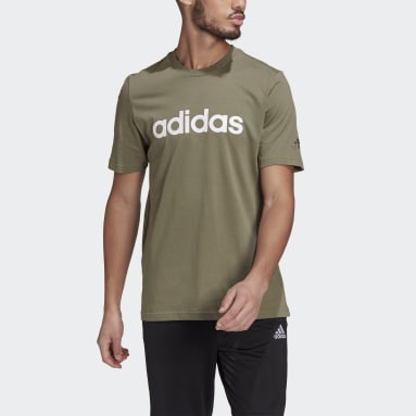 Men Sport Inspired Green Essentials Embroidered Linear Logo Tee