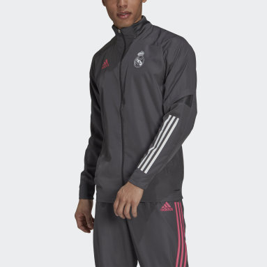 Men Football Grey Real Madrid Presentation Jacket