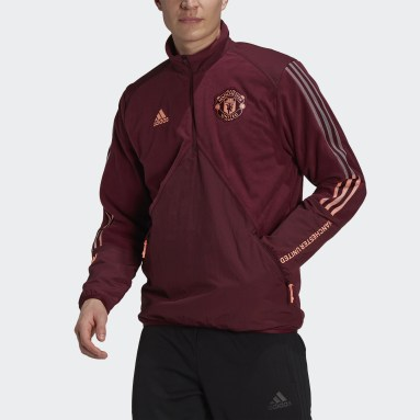 Men Football Red Manchester United Travel Fleece Top