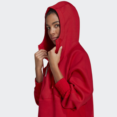 Felpa adidas by Stella McCartney Half-Zip Hooded Rosso Donna adidas by Stella McCartney
