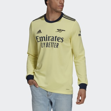 Men Football Yellow Arsenal 21/22 Long Sleeve Away Jersey