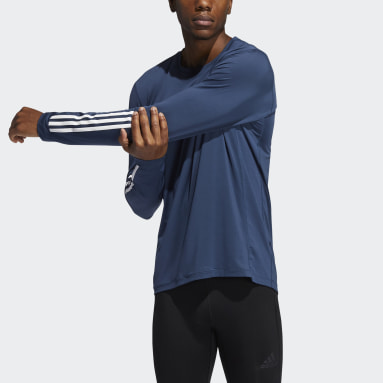 Men Cricket Blue Techfit 3-Stripes Fitted Long Sleeve Top