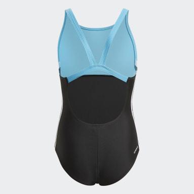 Mädchen Schwimmen Colorblock 3-Streifen Badeanzug Schwarz
