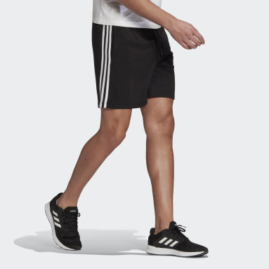 Men Sport Inspired Black Essentials French Terry 3-Stripes Shorts