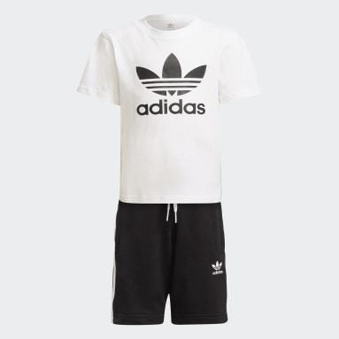 Kids Originals White Adicolor Shorts and Tee Set