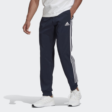 Men Sport Inspired Blue AEROREADY Essentials Tapered Cuff Woven 3-Stripes Pants