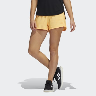 Women's Training Orange Pacer 3-Stripes Woven Heather Shorts