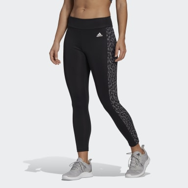 Mallas 7/8 adidas Designed to Move AEROREADY Estampado de Leopardo Corte Alto Negro Mujer Training