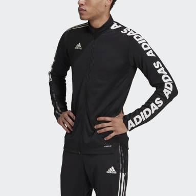 Men's Soccer Black Tiro Asymmetrical Tape Jacket