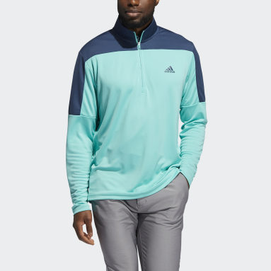 Men Golf Green Lightweight Quarter-Zip Sweatshirt