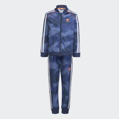 Çocuklar Originals Mavi Allover Print Camo SST Eşofman Takımı