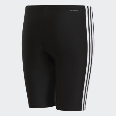 Boys Swimming Black 3-Stripes Swim Jammers