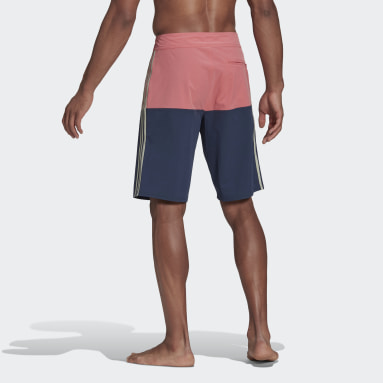 Men Swimming Pink Knee-Length Colorblock Board Shorts