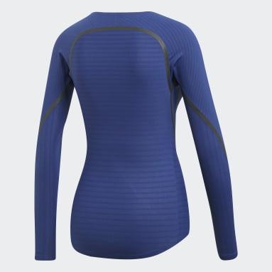 ผู้หญิง กีฬาฤดูหนาว สีน้ำเงิน เสื้อยืด Alphaskin 360