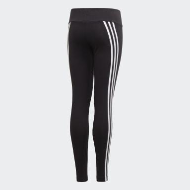 Mädchen Fitness & Training 3-Streifen Cotton Tight Schwarz