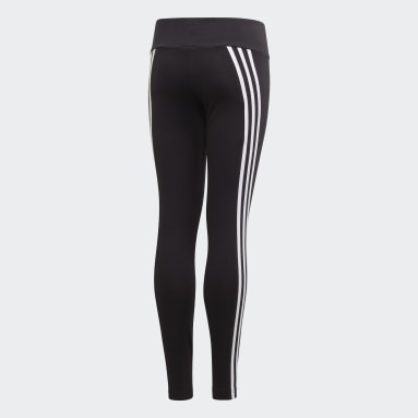 Girls Gym & Training Black 3-Stripes Cotton Leggings