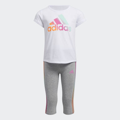 Children Training White Iridescent Tee and Capris Set