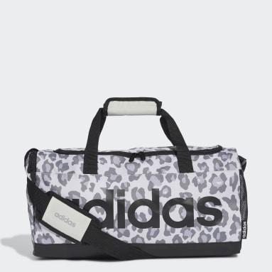 Women Training Grey Linear Leopard Duffel Bag Small