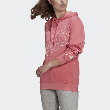 Women's Essentials Pink adidas Giant Logo Hoodie (Gender Neutral)