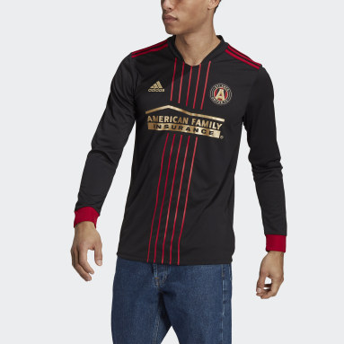 Men's Soccer Black Atlanta United FC 21/22 Long Sleeve Home Jersey