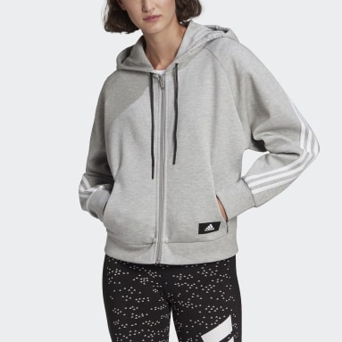 Women Sportswear Grey adidas Sportswear Wrapped 3-Stripes Full-Zip Hoodie
