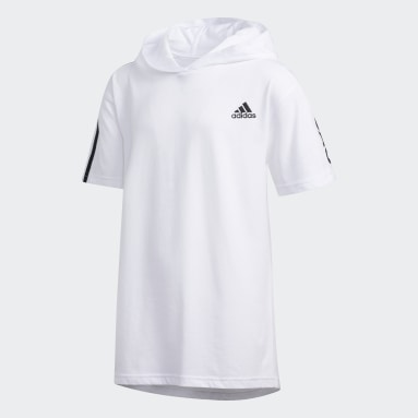 Youth Training White 3-Stripes Hooded Tee