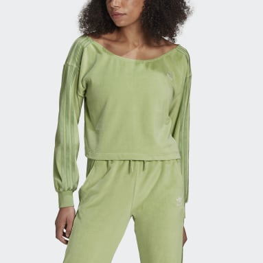 Dames Originals Groen LOUNGEWEAR adidas Off Shoulder Sweater