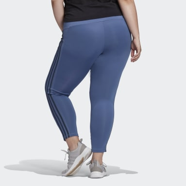 Women's Training Blue Designed 2 Move High-Rise 3-Stripes 7/8 Sport Tights (Plus Size)