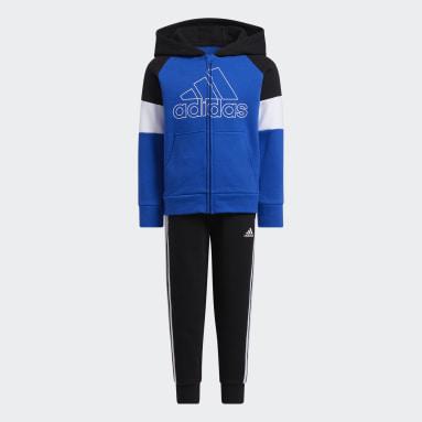 Children Training Blue Pieced Fleece Jacket and Joggers Set
