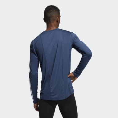 Men Gym & Training Blue Techfit 3-Stripes Fitted Long Sleeve Top