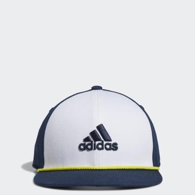 Boys Golf White Flat-Brim Cap