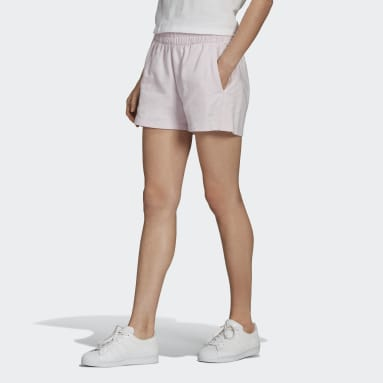 Women's Originals Pink Tennis Luxe 3-Stripes Shorts