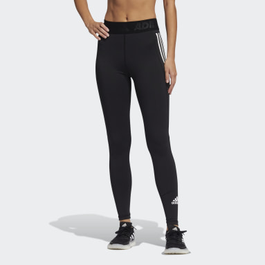 Women Cricket Black Techfit 3-Stripes Long Leggings