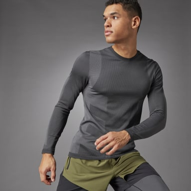 Men Training Black Studio Techfit Seamless Long Sleeve Tee