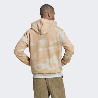 Men Originals Beige Camo Allover Print Hoodie