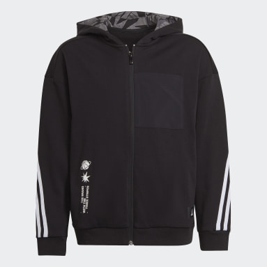 Boys Training Black ARKD3 Relaxed Graphic Full-Zip Hoodie
