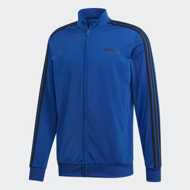 Men Essentials Blue Essentials 3-Stripes Tricot Track Top