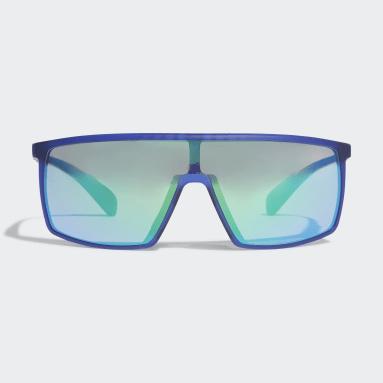 Padel-Tennis SP0004 Shiny Black Injected Sportsonnenbrille Blau