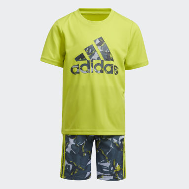 Children Training Yellow Action Camo Shorts Set