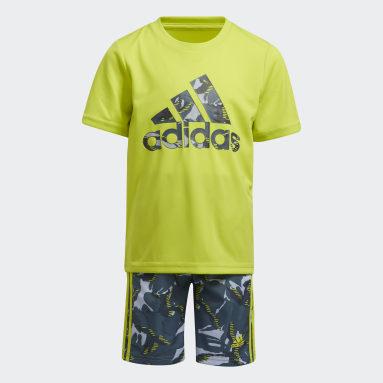Children Training Yellow Action Camo Shorts Set