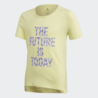 T-shirt The Future Today Giallo Ragazza Yoga