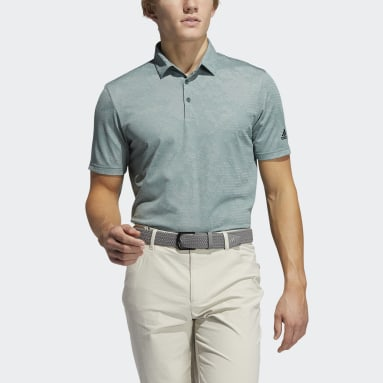 Men Golf Green Camo Polo Shirt