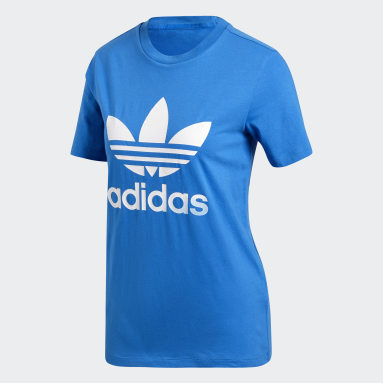 Dames Originals blauw Trefoil T-shirt