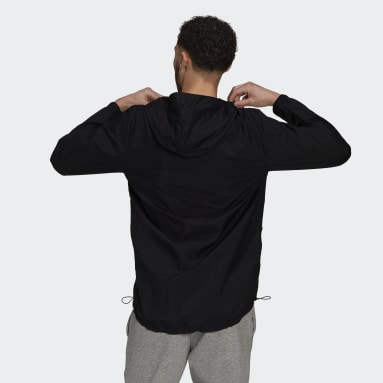 Men Sport Inspired Black Essentials Gradient Logo Windbreaker