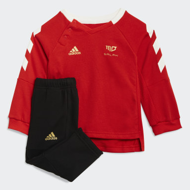 Boys Gym & Training Red Salah Football-Inspired Jogger Set